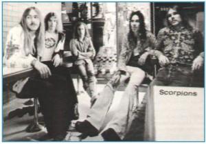 1974: Uli Roth, Francis Buchholz, Klaus Meine, Jürgen Rosenthal, Rudolf Schenker